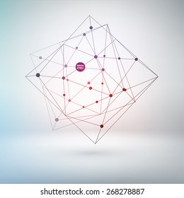 Wireframe Polygonal Element for Abstract Background Design. Lines and Dots.