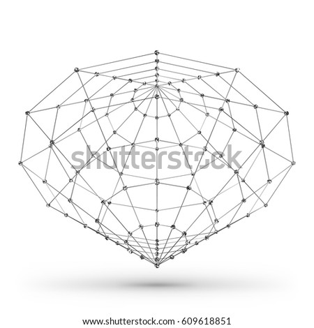 Wireframe Polygonal Geometric Element Cone Connected Stock Vector