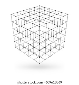 Wireframe polygonal geometric element. Cube with connected lines and dots. Vector Illustration on white background with shade