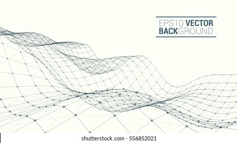 Wireframe polygonal landscape