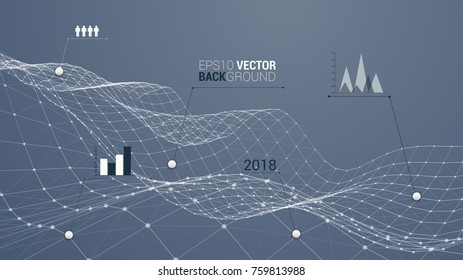 Wireframe polygonal landscape as a business chart of growing a background for your design. Info graphic template
