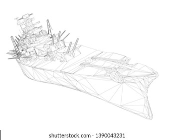 Wireframe polygonal warship with guns. 3D. Vector illustration.