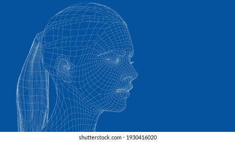 Wireframe portrait of a young beautiful girl with closed eyes. Ponytail hairstyle. Vector 3d rendering