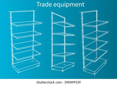 Wireframe Retail Shelves. Front View. For Your Design. Product Packing. 3D Rendering Vector EPS10