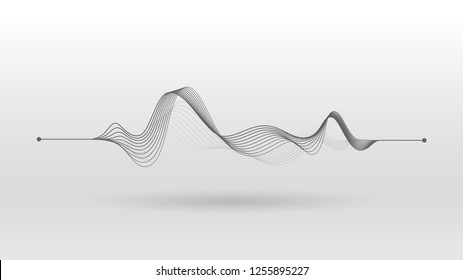 wireframe sound mixer wave abstract background