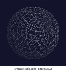 Wireframe sphere, a vector wireframe sphere as a background design with sacred geometry theme flower of life