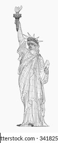 Wireframe of Statue Of Liberty. vector