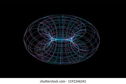 Wireframe of torus on black bakground. 3d Vector illustration.