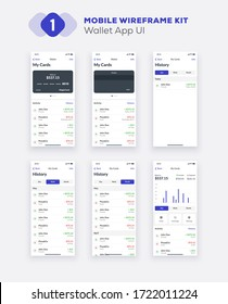 Wireframe UI kit for smartphone. Mobile App UX design. New OS wallet, credit cards, finances, history and statistics screens.
