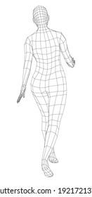 Wireframe walking woman. Vector 3d rendering. Female in walking pose