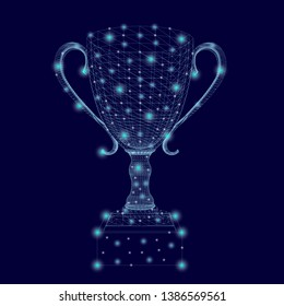 Wireframe of the winning cup with glowing lights. Polygonal goblet of blue lines on a dark background. 3D. Vector illustration