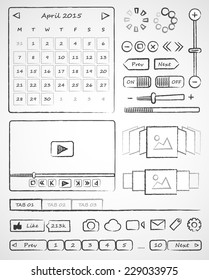 Wireframes. Hand-drawn ui web elements. Vector simple icons on white background