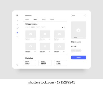 Wireframes screens. Dashboard UI and UX Kit design. Use for mobile app or website.