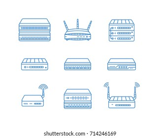 Wireless access points, routers and other network devices icon set. Thin line vector icons.