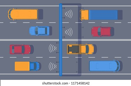 Wireless automated toll collection on highway. Checkpoint on the toll road. Different car on road. Highway traffic. Top view vector illustration.