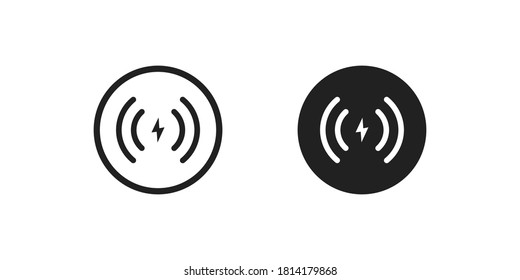Wireless charger icon concept. Phone charge simple illustration in vector flat style.