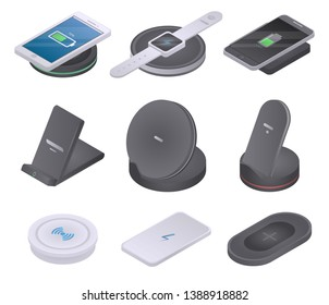 Wireless charger icons set. Isometric set of wireless charger vector icons for web design isolated on white background