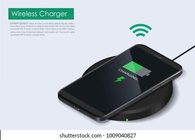 Wireless Charger infographic. Realistic modern black smartphone isolated, borderless and no home button. Charging Battery on charging pad. Wireless charging technology concept on white background.