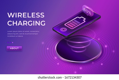Wireless charging concept. Black smartphone on wireless charger. Phone charger without cable. Isometric cell phone and icon battery. Progress of charging the battery