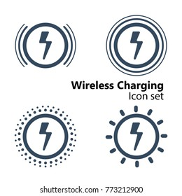 Wireless Charging Icon set, vector illustration