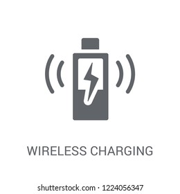 Wireless charging icon. Trendy Wireless charging logo concept on white background from Artificial Intelligence collection. Suitable for use on web apps, mobile apps and print media.