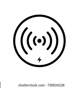 Wireless Charging Icon Vector In Outline Style