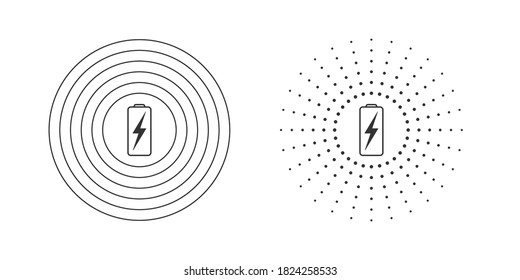 Wireless charging icons. Wireless charging icon concept. Variations of wireless charging icons for web and animation. Vector illustration