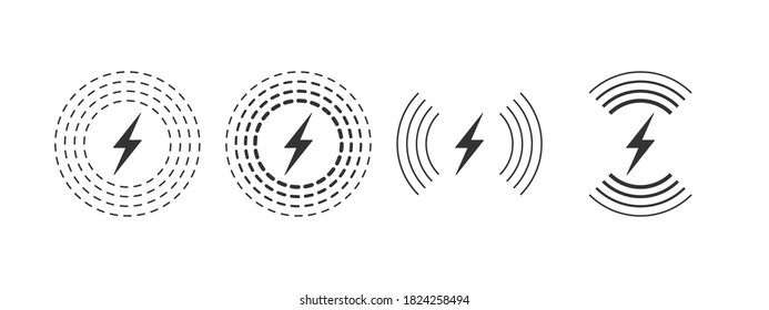 Wireless charging linear style. Wireless charging icon concept. Charging icons set for web and animation. Vector illustration