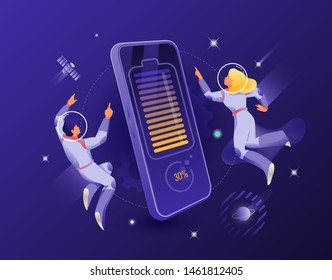 Wireless charging smartphone and astronauts couple vector illustration. Cosmic design vector illustration concept for website app landing web page development.
