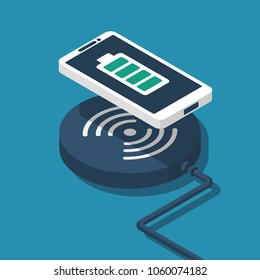 Wireless charging for smartphone. Innovative modern technological accessories. Vector illustration isometric flat design. Isolated on white background. 3d style. Charging mobile.