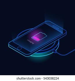Wireless charging of smartphone. Isometric vector illustration on dark background