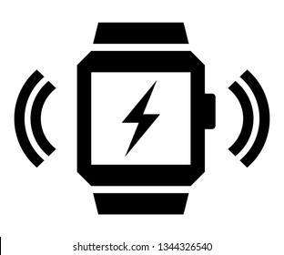 Wireless charging smartwatch icon. Vector icon of wireless signal going from smart watch with lightning on screen
