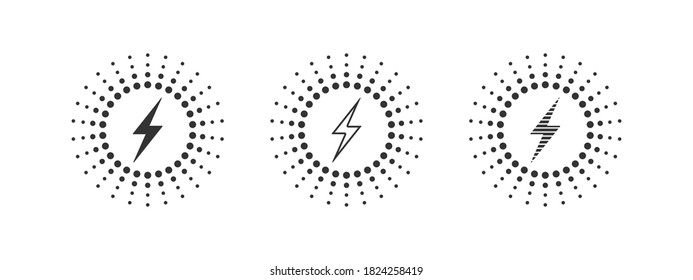 Wireless charging variations of icons. Wireless charging icon concept. Charging icons set for web and animation. Vector illustration