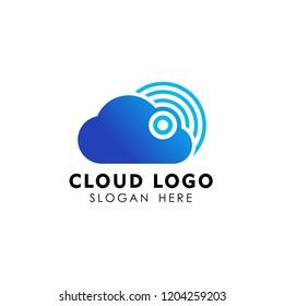 wireless cloud logo design vector icon. cloud tech logo design