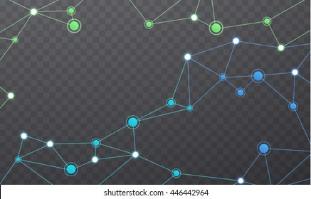 Wireless communication network. Geometric polygonal structure mesh  colored color. Internet connections on transparent background.
