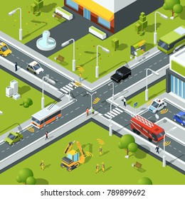 Wireless connection inside urban traffic. Illustration of crossroad in isometric style. City urban connection and communication wireless vector