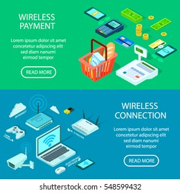 Wireless Connection and payment banner.  illustration of different digital isometric wireless devices.Vector Wi fi router,modem,laptop, mobile payment