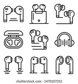 Wireless Earbuds icons set. Outline set of Wireless Earbuds vector icons for web design isolated on white background