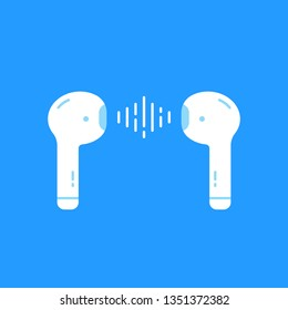 wireless earbuds isolated on blue. minimal flat cartoon style trendy modern simple logotype graphic art design element. concept of personal device without cable and wire for easy listen music