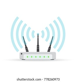 Wireless ethernet modem router sign, Vector illustration. Isolated on white.