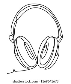 Wireless headphones with music and technology symbols Vector illustration isolated on white background. Continuous line drawing. Vector monochrome, drawing by lines