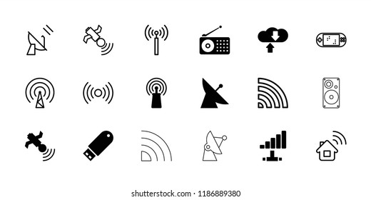Wireless icon. collection of 18 wireless filled and outline icons such as satellite, signal, download cloud, signal tower. editable wireless icons for web and mobile.
