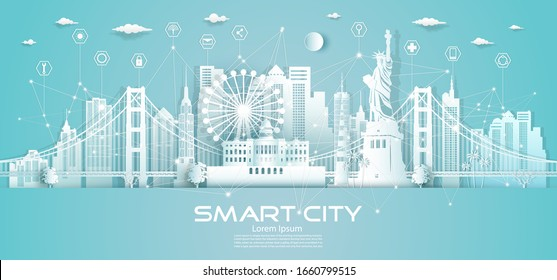 Wireless icon network communication smart city with architecture in America downtown skyscraper on blue background, Technology modern city smart tech in the future,Vector illustration futuristic city.
