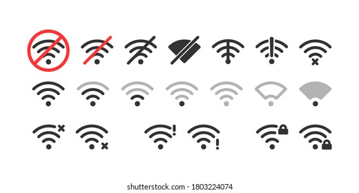 Wireless icon set. No wifi. Different levels of Wi Fi signal. Vector illustration on white background