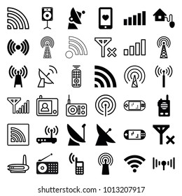 Wireless icons. set of 36 editable filled and outline wireless icons such as signal tower, satellite, transmitter, heart mobile, signal, wi-fi, loudspeaker, smart home, router