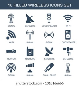 wireless icons. Trendy 16 wireless icons. Contain icons such as signal, satellite, loudspeaker, wi fi, router, intercom, flash drive. wireless icon for web and mobile.