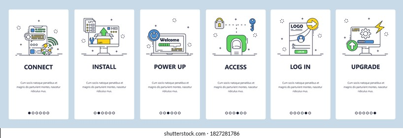 Wireless internet connection, file access and upgrade. Mobile app onboarding screens. Vector banner template for website and mobile development. Web site design illustration.