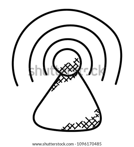 Wireless Internet Signal Tower Doodle Icon Stock Vector Royalty