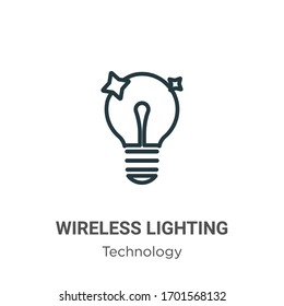 Wireless lighting outline vector icon. Thin line black wireless lighting icon, flat vector simple element illustration from editable technology concept isolated stroke on white background