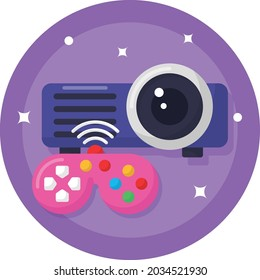 Wireless Mini Projector Android based and Game Controller Concept Vector Icon Design, Esports or mind sport Symbol, Electronic sports Equipment Sign, Video gaming hardware Stock illustration